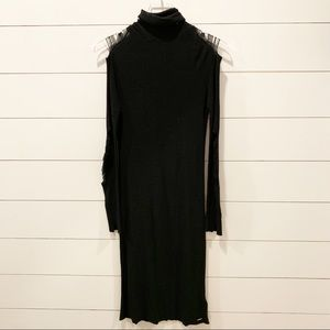 DIESEL Black Figure Hugging Faux Tattered Dress
